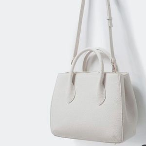 Zara White Pebbled Faux Leather Purse